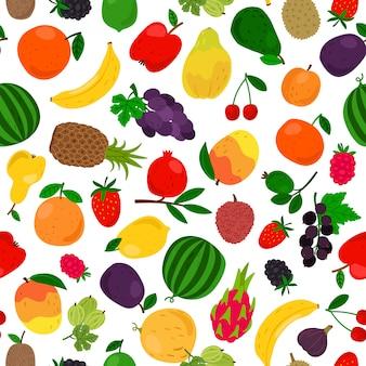 Padrão sem emenda tropical de frutas