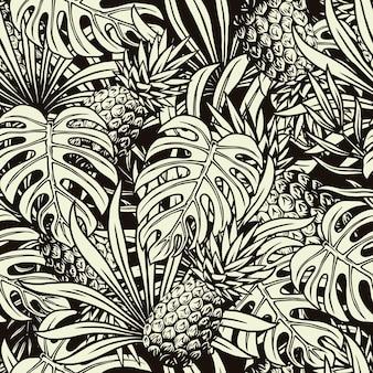 Padrão sem emenda tropical de verão com abacaxi, monstera e folhas de palmeira em estilo monocromático
