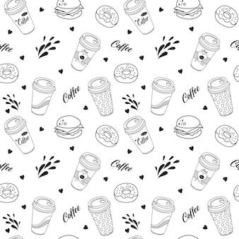 Padrão sem emenda uma xícara de café em estilo doodle
