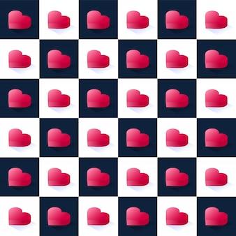 Padrão sem emenda vector estoque isométrico, geométricas corações rosa planas em blocos quadrados escalonados