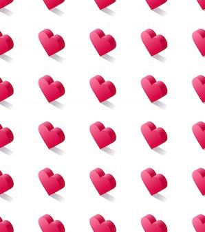 Padrão sem emenda vector estoque isométrico, geométricas corações rosa planas
