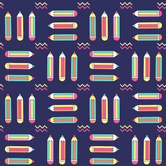 Padrão sem emenda vibrante com lápis em estilo de memphis