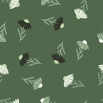 Padrão sem emenda vintage com estampa aleatória de flores de camomila em preto e branco