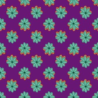 Padrão sem emenda vintage com formas decorativas de flores de margarida turquesa