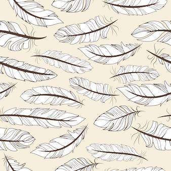 Padrão sem emenda vintage com ilustração vetorial de penas desenhadas à mão