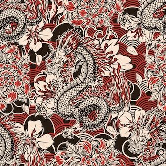Padrão sem emenda vintage japonês com dragão de fantasia e flores em ondas tradicionais abstratas