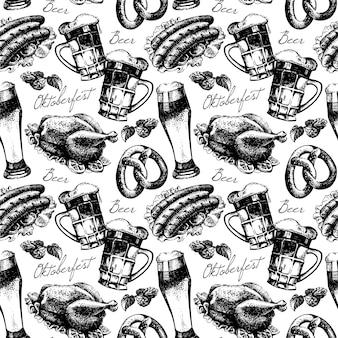 Padrão sem emenda vintage oktoberfest. ilustração em vetor desenho desenhado à mão