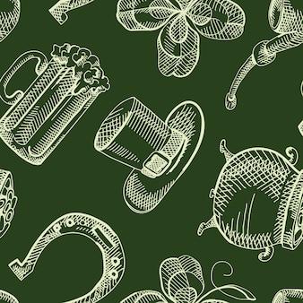 Padrão sem emenda vintage saint patricks day com elementos tradicionais desenhados à mão