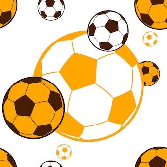 Padrão sem emenda voando bolas de futebol amarelo marrom cor ilustração vetorial fundo branco