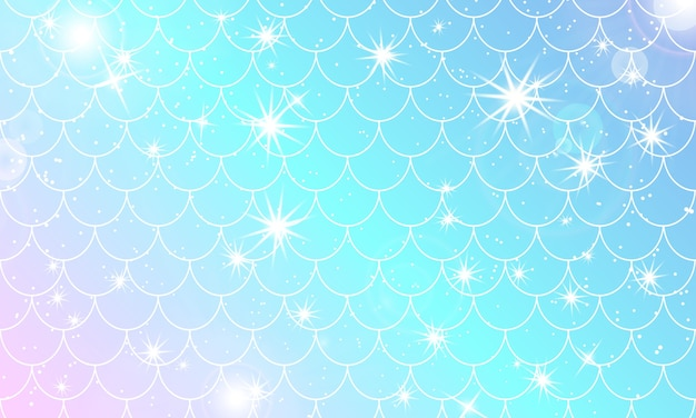 Padrão sereia kawaii. escama de peixe. estrelas holográficas em aquarela.