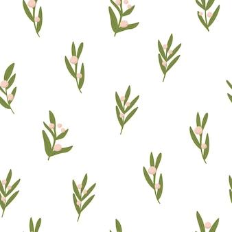 Padrão simples com folhas em fundo branco
