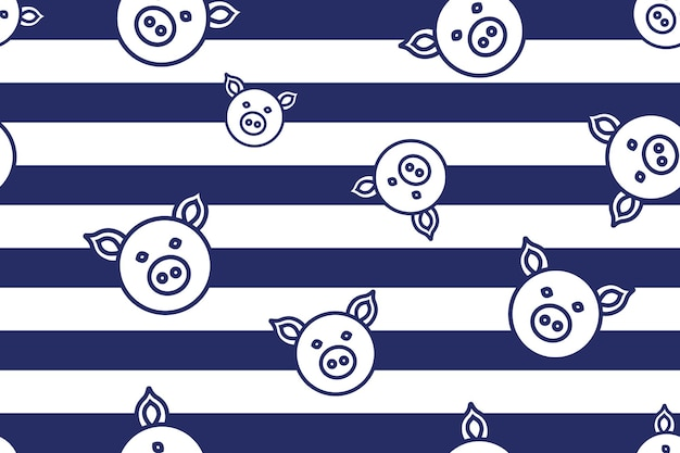 Padrão simples de porco sem costura em fundo azul
