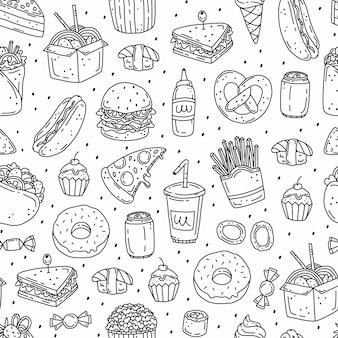 Padrão simples preto e branco sem costura com fast food em estilo doodle