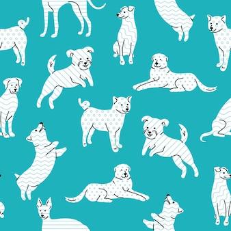 Padrão simples sem costura com cães no estilo geométrico de memphis sobre fundo azul.