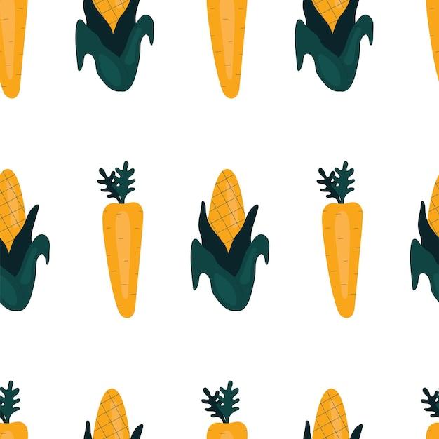 Padrão simples sem costura com cenoura e milho. vegetais, vitaminas, vegetarianismo, alimentação saudável, dieta alimentar, lanches, colheita. ilustração em estilo simples