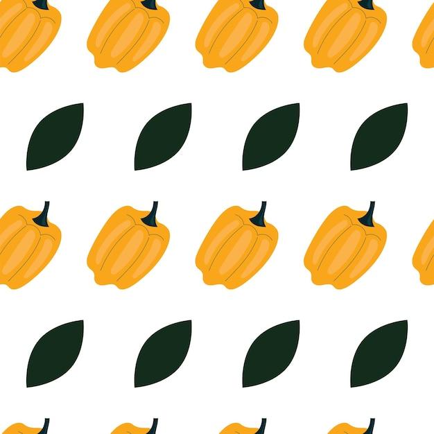 Padrão simples sem costura com pimentão, colorau. vegetais, vitaminas, vegetarianismo, alimentação saudável, dieta alimentar, lanches, colheita. ilustração em estilo simples