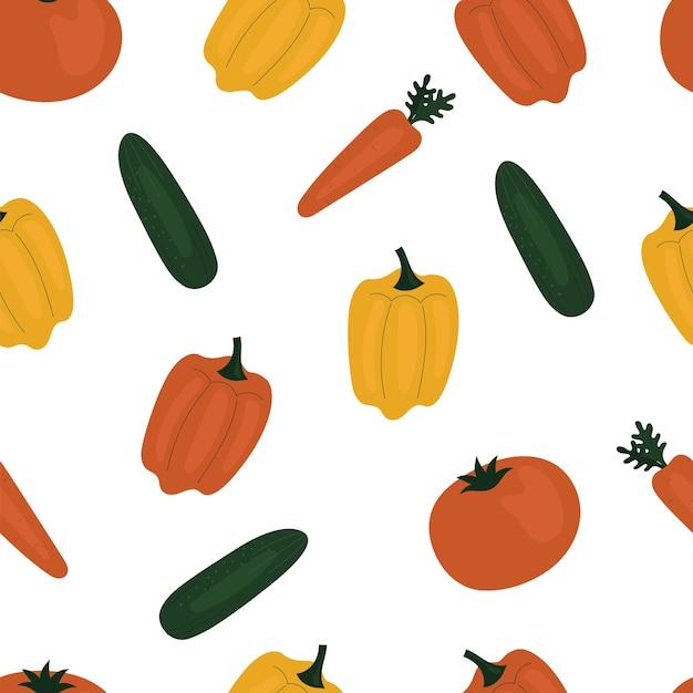 Padrão simples sem emenda com pepinos, cenouras, pimentões, colorau. vegetais, vitaminas, vegetarianismo, alimentação saudável, dieta alimentar, lanches, colheita. ilustração em estilo simples
