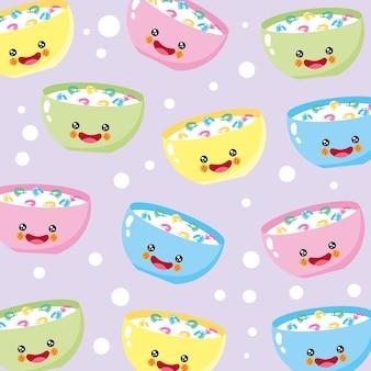 Padrão sorridente de cereal fofo e engraçado