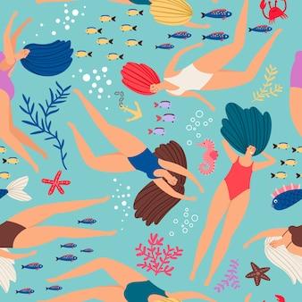 Padrão subaquático de meninas nadadores com peixes de cor
