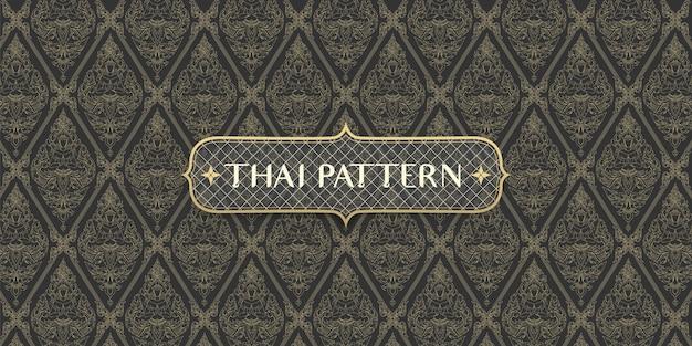Padrão tailandês abstrato tradicional desenhado à mão conectando anjo e flores