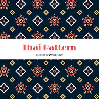 Padrão tailandês colorido com design plano