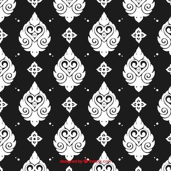 Padrão tailandês preto e branco elegante
