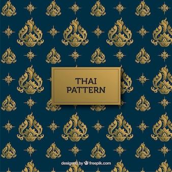 Padrão tailandês tradicional com estilo dourado