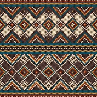 Padrão tradicional tribal asteca sem costura na textura de malha de lã