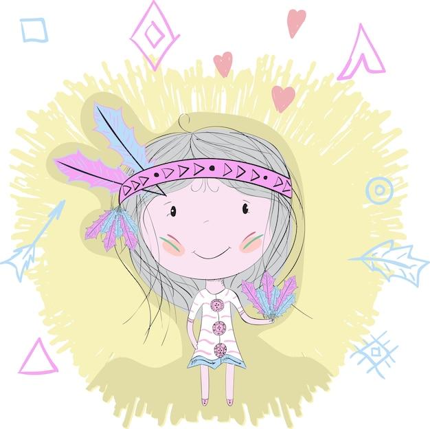 Padrão tribal da menina pequena