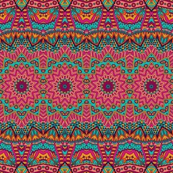Padrão tribal étnico abstrato festivo de vetor de grunge colorido
