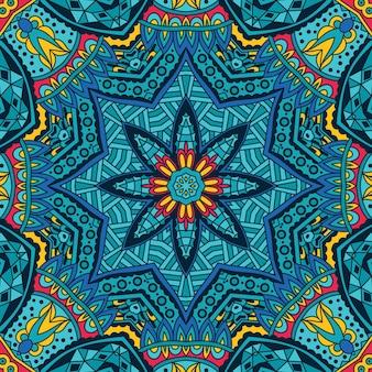 Padrão tribal étnico de vetor geométrico colorido festivo abstrato