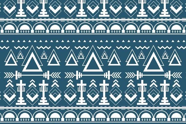 Padrão tribal sem emenda, vetor de fundo azul