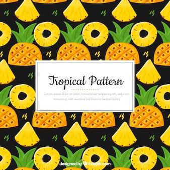 Padrão tropical colorido com abacaxi
