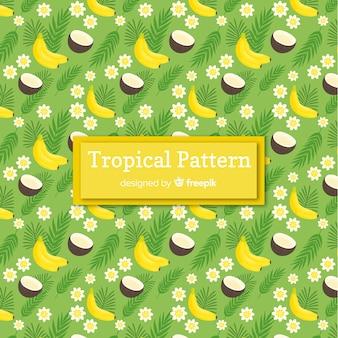 Padrão tropical colorido com frutas