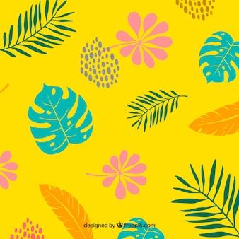 Padrão tropical colorido mão desenhada