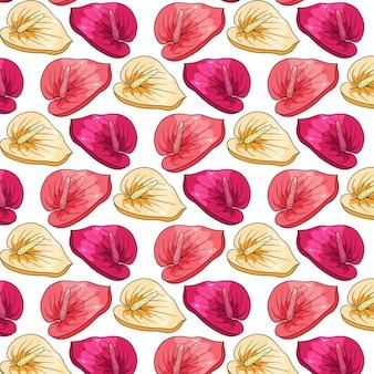 Padrão tropical com flores exóticas em estilo cartoon. impressão de verão brilhante para design e plano de fundo.
