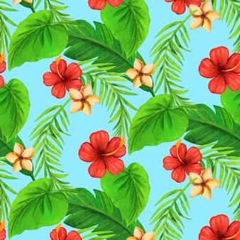 Padrão tropical de verão pintado à mão em aquarela