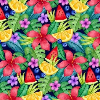 Padrão tropical de verão pintado à mão