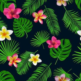Padrão tropical desenhada de mão sem costura
