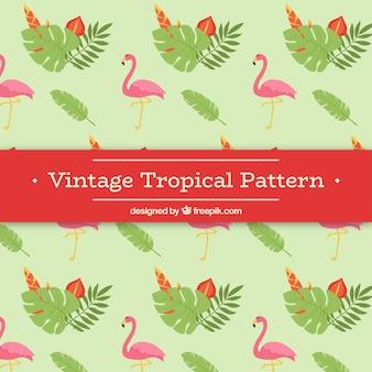 Padrão tropical em estilo vintage