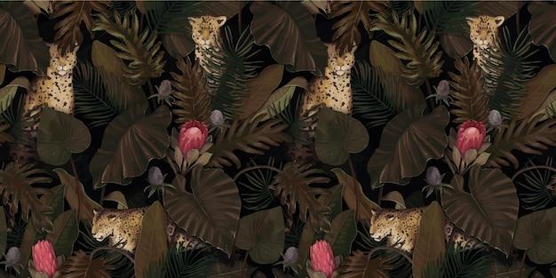 Padrão tropical exótico com leopardos em folhas de palmeira com flores protea