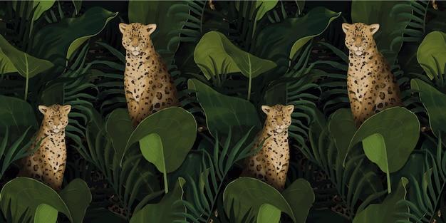 Padrão tropical exótico com leopardos em folhas de palmeira