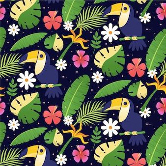 Padrão tropical plano de verão