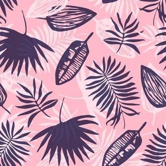 Padrão tropical rosa com folhas azuis