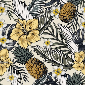 Padrão tropical sem costura com flores de abacaxi, hibisco e frangipani e folhas exóticas