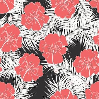 Padrão tropical sem costura com folhas brancas e flores vermelhas no fundo branco