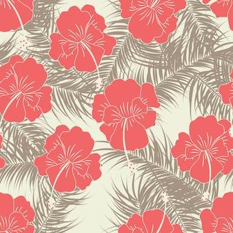 Padrão tropical sem costura com folhas castanhas e flores vermelhas em fundo de baunilha