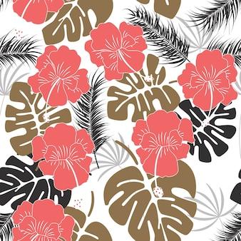 Padrão tropical sem costura com folhas de monstera e flores no fundo branco