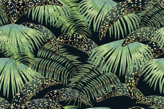 Padrão tropical sem costura de folhas douradas