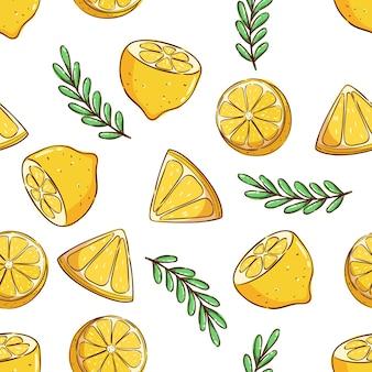 Padrão tropical sem costura padrão de verão com uma linda fatia de limão e folhas